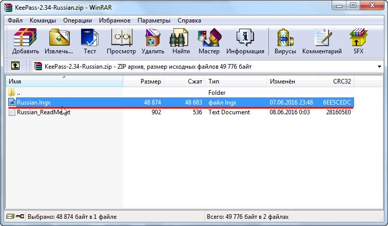 Открываем архив с файлом для русификации.
