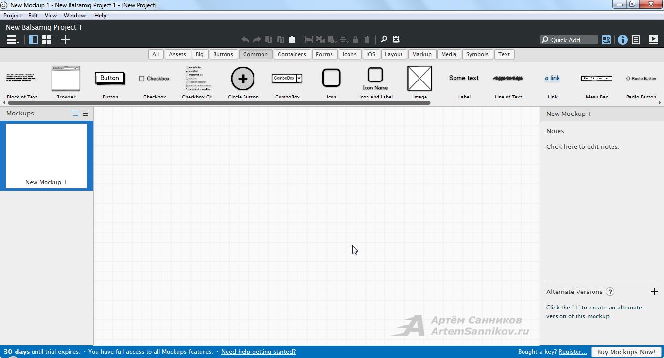 Интерфейс программы balsamiq