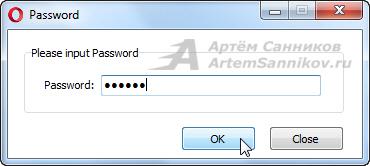 Вводим пароль для запуска программы.
