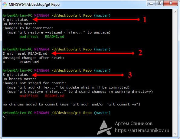 Отмена индексации указанного файла в Git-репозитории