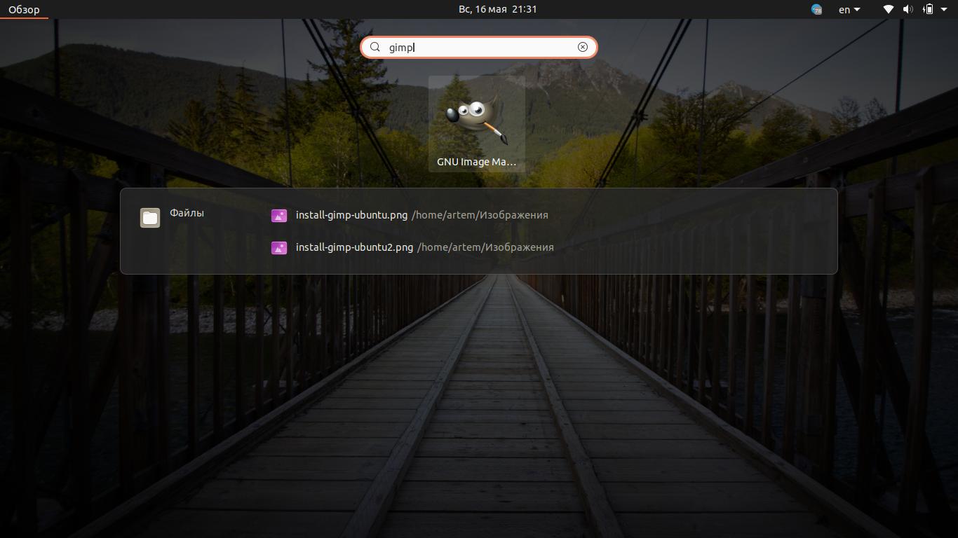 Поиск установленного графического редактора Gimp в панели управления приложениями Ubuntu