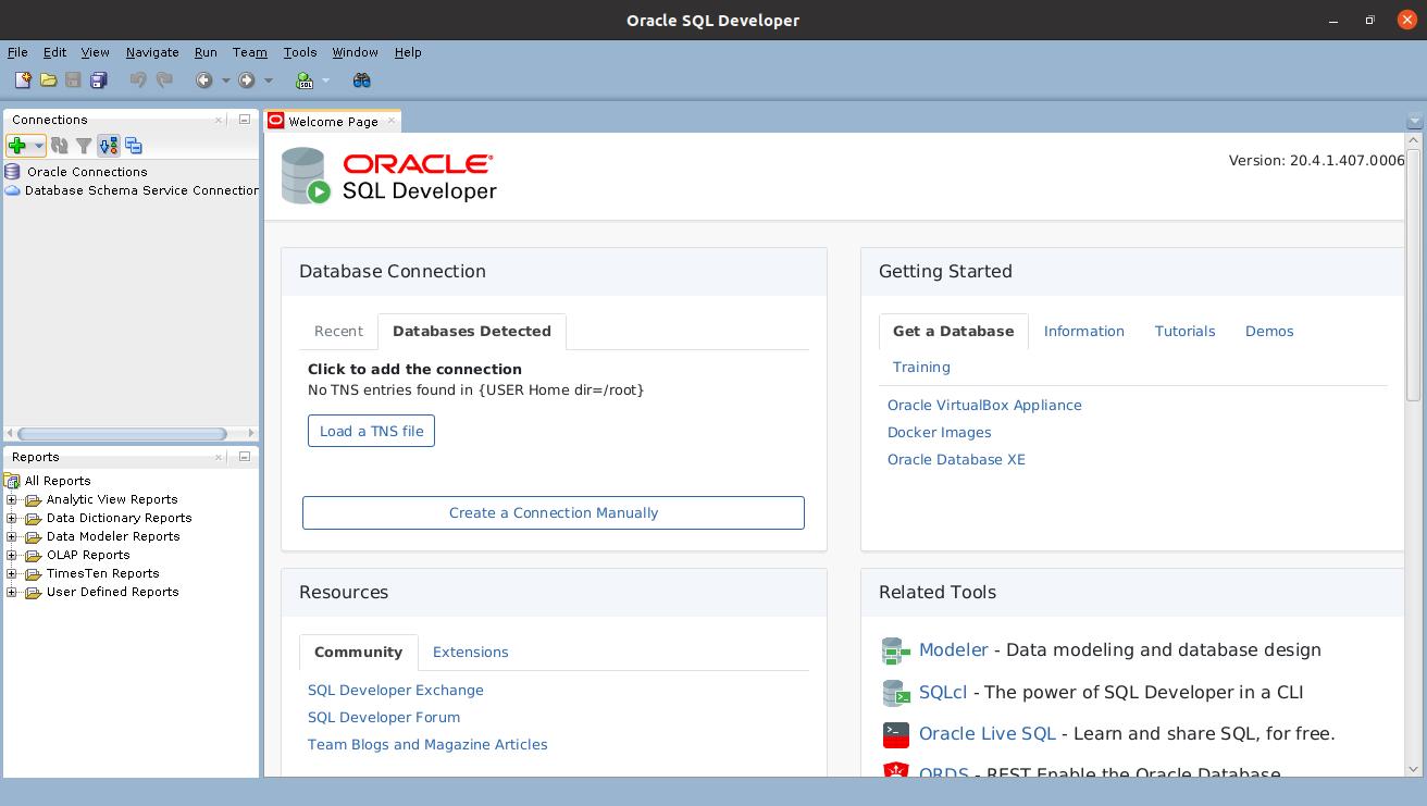 SQL Developer Oracle успешно запущен