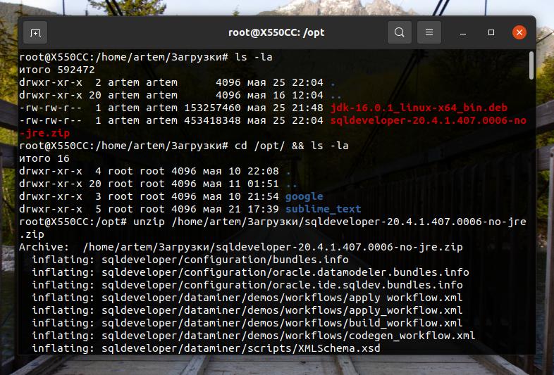 Распаковываем архив с SQL Developer