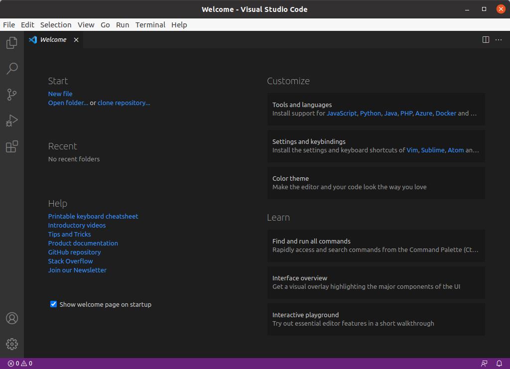 Visual Studio Code успешно запущен и готов к работе.